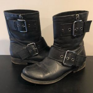 Aldo black motorcycle boots size 8.5